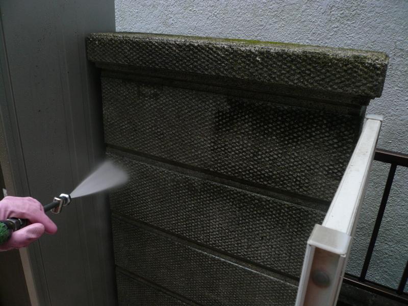 塀の高圧洗浄